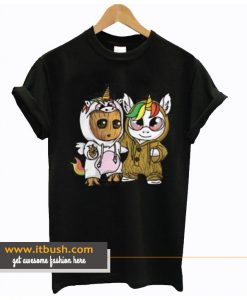 Unicorn Eyes Glasses And Baby Groot T Shirt